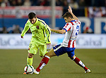 Barcelona's Argentinean forward Leo Messi during the Spanish Copa del Rey (King's Cup) quarter final second leg football match  Atletico de Madrid vs FC Barcelona at the Vicente Calderon stadium in Madrid on January 28, 2015. DP by Photocall3000.