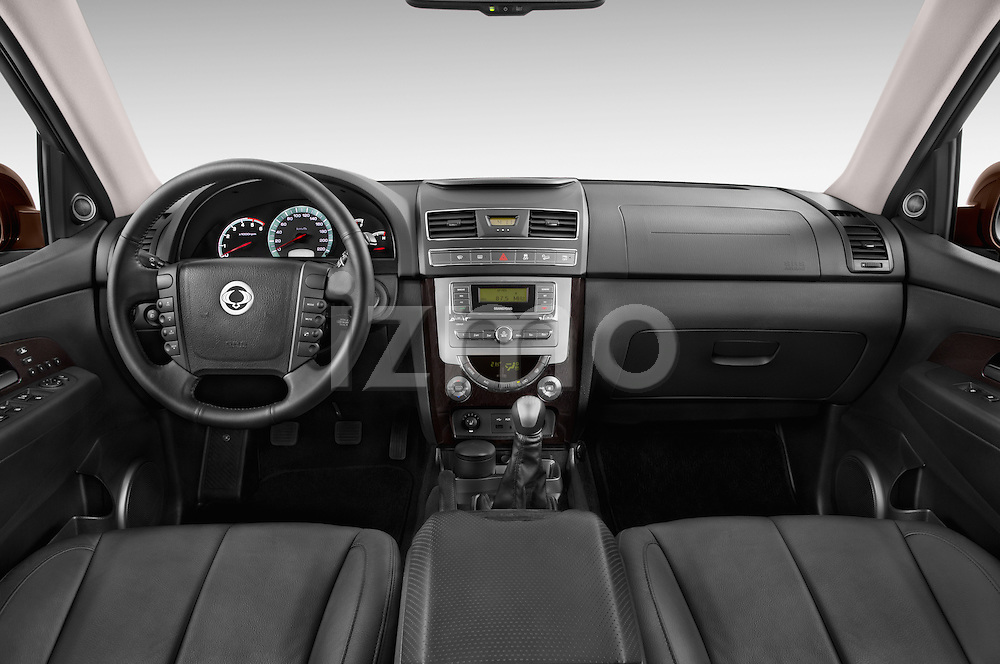 Stock photo of straight dashboard view of 2015 Ssangyong Rexton W Sapphire 5 Door Suv Dashboard