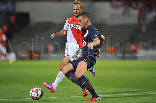 17.08.2014. Bordeaux, France. French League 1 football. Bordeaux versus Monaco.  GREGORY SERTIC challenged by VALERE GERMAIN