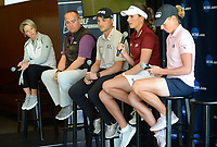NWA Democrat-Gazette/ANDY SHUPE<br /> Gaby Lopez (second from right), speaks Tuesday, April 9, 2019, alongside Stacy Lewis (from right) and Austin Cook, all former Arkansas and current professional golfers, as Brandt Packer, lead Golf Channel tournament producer, and Lisa Cornwell, former Fayetteville High School and Arkansas golfer and current Golf Channel anchor, during a press conference to announce the details of the NCAA Men's and Women's Golf Nation Championship at Blessings Golf Club in Johnson.