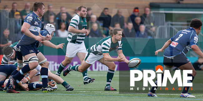 Ealing's Alex Walker in action during the Greene King IPA Championship match between Ealing Trailfinders and Bedford Blues at Castle Bar , West Ealing , England  on 29 October 2016. Photo by Carlton Myrie / PRiME Media