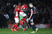 Charlton players congratulate goalkeeper, Dillon Phillips after winning the penalty shoot-out during Charlton Athletic vs Doncaster Rovers, Sky Bet EFL League 1 Play-Off Football at The Valley on 17th May 2019