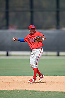 Philadelphia Phillies Alexeis Azuaje (5) throws to first base during an Instructional League game against the Detroit Tigers on September 19, 2019 at Tigertown in Lakeland, Florida.  (Mike Janes/Four Seam Images)