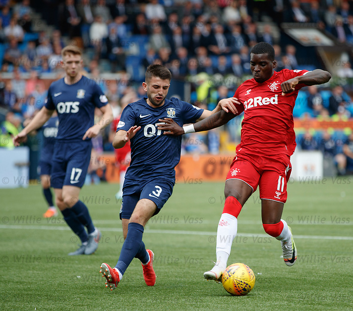 04.08.2019 Kilmarnock v Rangers: Sheyi Ojo with Greg Taylor