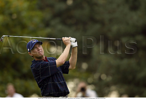 DAVIS LOVE III (USA) plays from the 12th tee, Foursomes Match, 34th Ryder Cup, The Belfry, Sutton Coldfield, 020928. Photo: Glyn Kirk/Action Plus....2002.golf golfer player