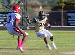 Palos Verdes, CA 10/09/15 - Julius Lagmay (Peninsula #35) and Adarrus Wilson (Morningside #3) in action during the Morningside - Peninsula varsity football game.  Morning side defeated Peninsula 24-21.