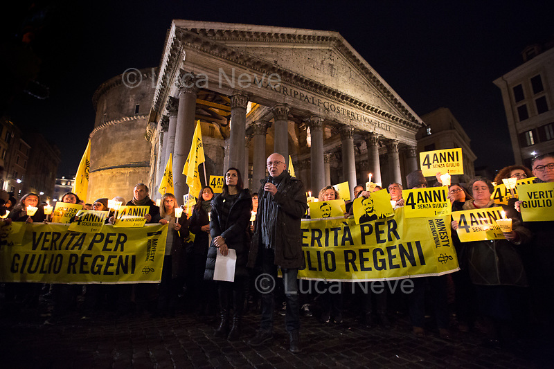 """(From L to R) Tina Marinari (Campaign Coordinator for Amnesty International Italia) & Riccardo Noury (Spokesperson Amnesty International Italia).<br /> <br /> Rome, 25/01/2020. Today, hundreds of people gathered outside the Pantheon, and in several squares across Italy, to hold a candlelit vigil marking the fourth anniversary of the disappearance of Giulio Regeni. Regeni was an Italian Cambridge University graduate (PhD student at Girton College, Cambridge) who was kidnapped, tortured and killed in Egypt while he was researching Egypt's independent trade unions. The body of the 28-year-old Cambridge PhD student was found on a Cairo road on Wednesday 3rd of February 2016. According to the autopsy, Giulio died after a vertebra in his neck was fractured. Moreover, his body - found on the Cairo-Alexandria desert road - shown signs of tortures, abrasions - including marks similar to cigarette burns - and fractures. After four years of disinformation, """"depistaggi"""", reticence, misdirections, the role of the Cambridge University and the role of the Egyptian regime of the President Al-Sisi, after four years of a very difficult investigations for the Italian Police, the Regeni's family, Amnesty International and thousands of people are still calling for the immediate truth about this brutal assassination. <br /> <br /> Footnotes & Links: <br /> http://bit.do/fqv6c (Facebook event)<br /> https://www.amnesty.it/<br /> https://www.amnesty.it/4annisenzagiulio/<br /> https://www.facebook.com/veritaegiustiziapergiulioregeni/ <br /> https://giuliosiamonoi.wordpress.com  <br /> Book """"Giulio Fa Cose"""" (Ed. Feltrinelli): http://bit.do/fqv39"""