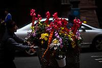 A man pushes a cart with flowers at Manhattan's Chinatown in New York, Nov 11, 2013. VIEWpress/Eduardo Munoz Alvarez