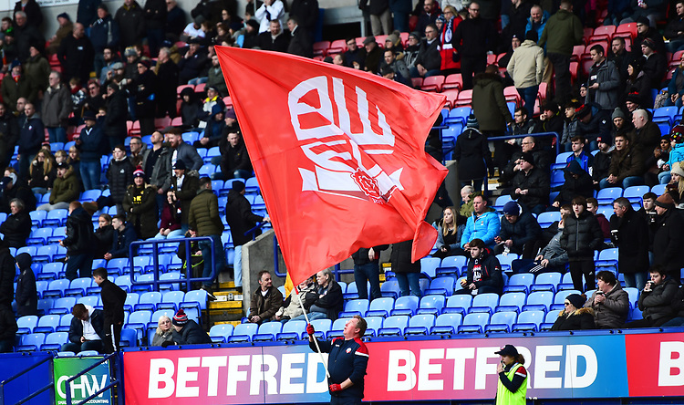 Bolton Wanderers fans look on<br /> <br /> Photographer Richard Martin-Roberts/CameraSport<br /> <br /> The EFL Sky Bet Championship - Bolton Wanderers v Preston North End - Saturday 9th February 2019 - University of Bolton Stadium - Bolton<br /> <br /> World Copyright © 2019 CameraSport. All rights reserved. 43 Linden Ave. Countesthorpe. Leicester. England. LE8 5PG - Tel: +44 (0) 116 277 4147 - admin@camerasport.com - www.camerasport.com