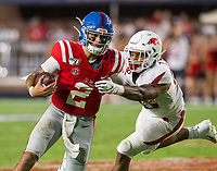 NWA Democrat-Gazette/BEN GOFF @NWABENGOFF<br /> Zach Williams, Arkansas defensive end, tackles Matt Corral, Ole Miss quarterback, in the second quarter Saturday, Sept. 7, 2019, at Vaught-Hemingway Stadium in Oxford, Miss.
