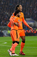 Liverpool's Mohamed Salah celebrates scoring his side's second goal with team mate Virgil van Dijk <br /> <br /> Photographer Craig Mercer/CameraSport<br /> <br /> UEFA Champions League Round of 16 First Leg - FC Porto v Liverpool - Wednesday 14th February 201 - Estadio do Dragao - Porto<br />  <br /> World Copyright &copy; 2018 CameraSport. All rights reserved. 43 Linden Ave. Countesthorpe. Leicester. England. LE8 5PG - Tel: +44 (0) 116 277 4147 - admin@camerasport.com - www.camerasport.com