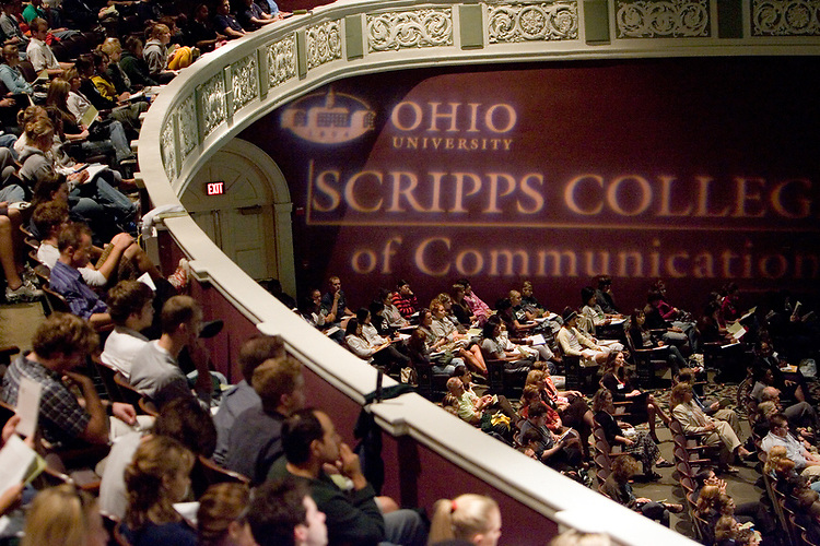 Students and guests fill Memorial Auditorium for the Scripps College of Communication Celebration.