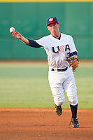 Second baseman Alex Bregman #3 of the USA 18u National Team makes a throw to first base against the USA Baseball Collegiate National Team at the USA Baseball National Training Center on July 2, 2011 in Cary, North Carolina.  The College National Team defeated the 18u team 8-1.  Brian Westerholt / Four Seam Images