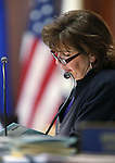 Nevada Senate Secretary Claire Clift works on the Senate floor at the Legislative Building in Carson City, Nev., on Tuesday, April 7, 2015. <br /> Photo by Cathleen Allison