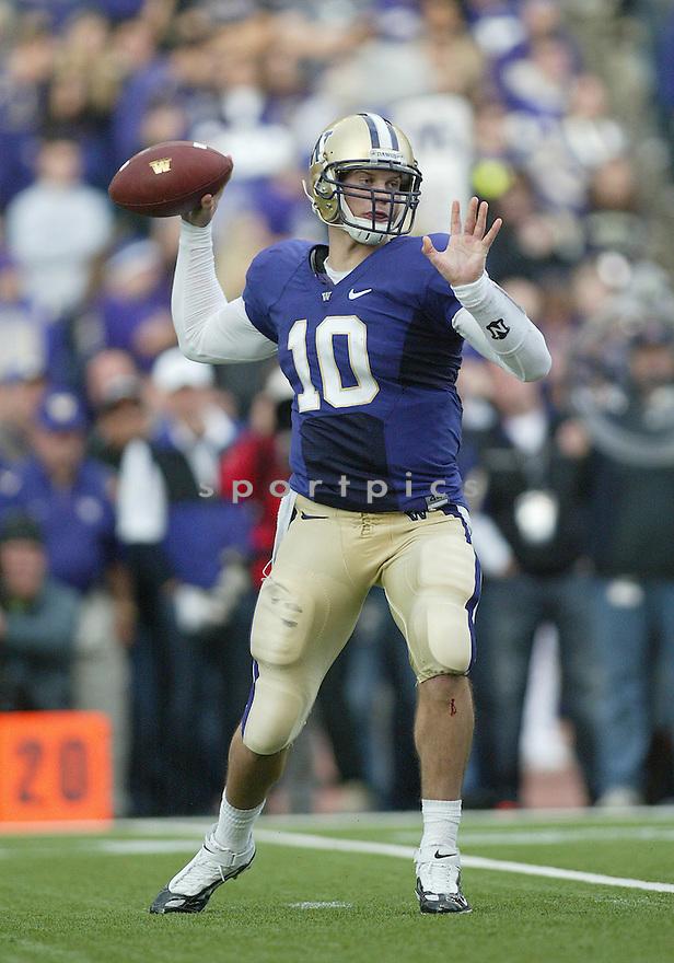 Oct 24, 2009:  Washington quarterback Jake Locker looks down field for an open receiver against Oregon. Oregon defeated Washington 43-19 at Husky Stadium in Seattle, Washington..