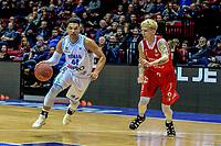 GRONINGEN - Basketbal, Donar - Feyenoord, Dutch Basketball League, seizoen 2018-2019, 16-02-2019, Donar speler Arvin Slagter met Feyenoord speler Maik Brouwer
