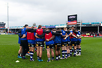 The Bath Rugby team huddle together during the pre-match warm-up. Anglo-Welsh Cup Final, between Bath Rugby and Exeter Chiefs on March 30, 2018 at Kingsholm Stadium in Gloucester, England. Photo by: Patrick Khachfe / Onside Images