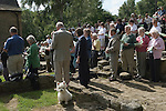 The annual Padley Martyrs Roman Catholic Pilgrimage. Padley, Padley Chapel, Grindleford, Derbyshire  UK 2008. Family take pet dog to open air church service.