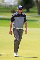 Callan O'Reilly (AUS) on the 18th during Round 1 of the ISPS HANDA Perth International at the Lake Karrinyup Country Club on Thursday 23rd October 2014.<br /> Picture:  Thos Caffrey / www.golffile.ie