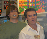 Jack Conroy and Kurt McKinney - Guiding Light's actors meet fans at Stacy Jo's Ice Cream in McKees Rocks, PA on September 30, 2009. During the weekend of events proceeds from pink ribbon bagel sales at various Panera Bread locations will benefit the Young Women's Breast Cancer Awareness Foundation. (Photo by Sue Coflin/Max Photos)