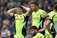 Tom Curry of Sale Sharks looks dejected after his team concede a score. Aviva Premiership match, between Leicester Tigers and Sale Sharks on April 29, 2017 at Welford Road in Leicester, England. Photo by: Patrick Khachfe / JMP