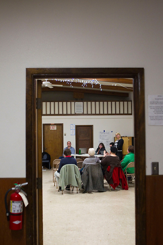 The neighborhood association holds a moderated discussion in The Fruit Valley Community Center about whether to welcome a coal terminal in Vancouver, Monday February 10, 2014. (Natalie Behring/for the Columbian)