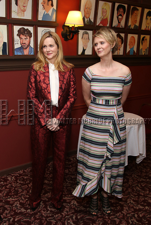 Laura Linney and Cynthia Nixon attend the portrait unveilings of Laura Linney and Cynthia Nixon starring on Broadway in the Manhattan Theatre Club's THE LITTLE FOXES, at Sardi's on June 29, 2017 in New York City.