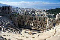 Athens, Acropolis, theater, Greece, Europe, Theatre of Herodes Atticus at the Acropolis.