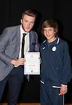 St Johnstone FC Academy Awards Night...06.04.15  Perth Concert Hall<br /> Zander Clark presents a certificate to Igor Spurek<br /> Picture by Graeme Hart.<br /> Copyright Perthshire Picture Agency<br /> Tel: 01738 623350  Mobile: 07990 594431