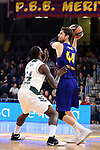 Turkish Airlines Euroleague 2018/2019. <br /> Regular Season-Round 18.<br /> FC Barcelona Lassa vs Panathinaikos Opap Athens: 79-68.<br /> James Gist vs Ante Tomic.