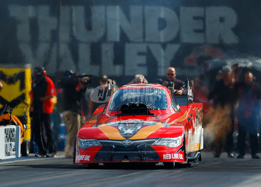 Jun 16, 2017; Bristol, TN, USA; NHRA funny car driver Jonnie Lindberg during qualifying for the Thunder Valley Nationals at Bristol Dragway. Mandatory Credit: Mark J. Rebilas-USA TODAY Sports