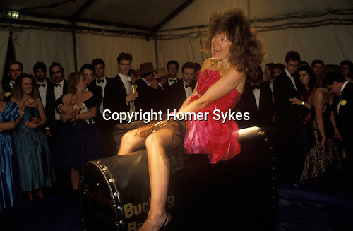 Bucking Bronco. Cirencester Royal Agricultural College. End of year summer Ball. 1990s.