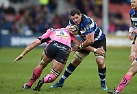 James Phillips of Bath Rugby takes on the Exeter Chiefs defence. Anglo-Welsh Cup Final, between Bath Rugby and Exeter Chiefs on March 30, 2018 at Kingsholm Stadium in Gloucester, England. Photo by: Patrick Khachfe / Onside Images