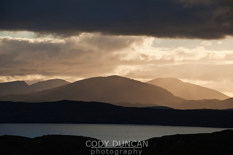 Distant mountains viewed from Dun Carloway, Isle of Lewis, Outer Hebrides, Scotland