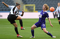 20190807 - ANDERLECHT, BELGIUM : Anderlecht's Charlotte Tison pictured in a duel with PAOK's Dimitra Karapetsa (left) during the female soccer game between the Belgian RSCA Ladies – Royal Sporting Club Anderlecht Dames  and the Greek FC PAOK Thessaloniki ladies , the first game for both teams in the Uefa Womens Champions League Qualifying round in group 8 , Wednesday 7 th August 2019 at the Lotto Park Stadium in Anderlecht  , Belgium  .  PHOTO SPORTPIX.BE | DAVID CATRY