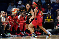 Washington, DC - August 25, 2019: New York Liberty guard Brittany Boyd (15) guarded by Washington Mystics guard Shey Peddy (1) during second half action of game between the New York Liberty and the Washington Mystics at the Entertainment and Sports Arena in Washington, DC. The Mystics defeated New York 101-72. (Photo by Phil Peters/Media Images International)