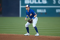 Durham Bulls shortstop Jake Cronenworth (1) on defense against the Louisville Bats at Durham Bulls Athletic Park on May 28, 2019 in Durham, North Carolina. The Bulls defeated the Bats 18-3. (Brian Westerholt/Four Seam Images)
