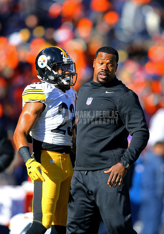 Jan 17, 2016; Denver, CO, USA; Pittsburgh Steelers safety Mike Mitchell (23) and outside linebackers coach Joey Porter against the Denver Broncos during the AFC Divisional round playoff game at Sports Authority Field at Mile High. Mandatory Credit: Mark J. Rebilas-USA TODAY Sports