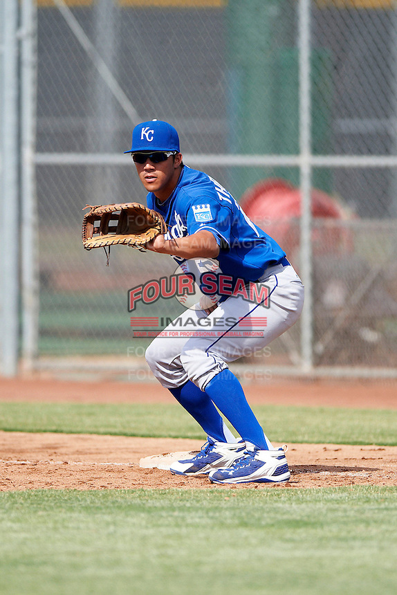 Kansas City Royals minor league first baseman Mark Threlkeld #25 during an instructional league game against the San Francisco Giants at the Giants Baseball Complex on October 18, 2012 in Scottsdale, Arizona. (Mike Janes/Four Seam Images)