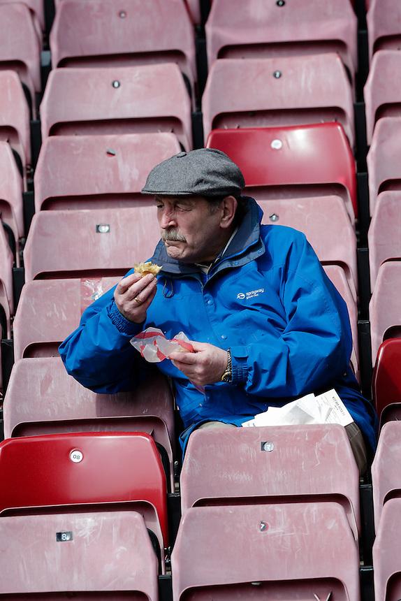 Burnley fans before kick off<br /> <br /> Photographer Craig Mercer/CameraSport<br /> <br /> Football - Barclays Premiership - West Ham United v Burnley - Saturday 2nd May 2015 - Boleyn Ground - London<br /> <br /> &copy; CameraSport - 43 Linden Ave. Countesthorpe. Leicester. England. LE8 5PG - Tel: +44 (0) 116 277 4147 - admin@camerasport.com - www.camerasport.com