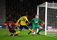 27th January 2020; Vitality Stadium, Bournemouth, Dorset, England; English FA Cup Football, Bournemouth Athletic versus Arsenal; Goalkeeper Mark Travers of Bournemouth saves a shot from Joe Willock of Arsenal