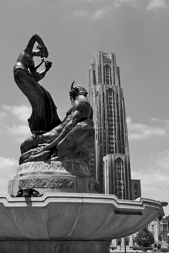 Cathedral of Learning, University of Pittsburgh, in black and white