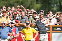 Rory Mcilroy (NIR) watches his tee shot on the 6th hole during second round at the Omega European Masters, Golf Club Crans-sur-Sierre, Crans-Montana, Valais, Switzerland. 30/08/19.<br /> Picture Stefano DiMaria / Golffile.ie<br /> <br /> All photo usage must carry mandatory copyright credit (© Golffile | Stefano DiMaria)