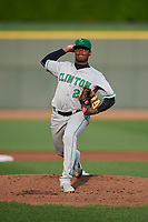 Clinton LumberKings starting pitcher George Soriano (20) during a Midwest League game against the Great Lakes Loons on July 19, 2019 at Dow Diamond in Midland, Michigan.  Clinton defeated Great Lakes 3-2.  (Mike Janes/Four Seam Images)