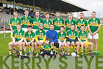 The Kerry team that played IT Tralee in the Waterford Crystal Hurling cup in Fitzgerald Stadium on Sunday front row l-r: Rory Horgan, Pa Joe Connolly, Liam Boyle, Bernard Rochford, James Flaherty, Darragh O'Connell, John Griffin. Back row: James Godley, Shane Brick, Tom Murnane, John Egan, Darren Dineen, Paud Costelloe, Michael Boyle and Aidan Boyle. Finan Egan is the mascot in the front....................