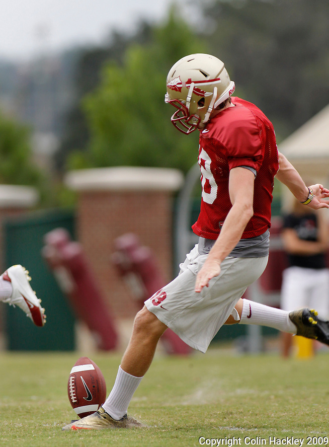 TALLAHASSEE, FL. 8/26/09-FSU-Hopkins 0826 CH01-Florida State's Dustin Hopkins kicks off during practice Wednesday in Tallahassee...COLIN HACKLEY PHOTO