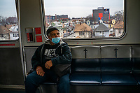 NEW YORK, NEW YORK - MARCH 03 : A man wears a face mask on his way to JFK International Airport in New York on March 03, 2020. New York confirms second coronavirus case, as flights cancelations and Jewish schools close over virus fears.The first person to test positive for coronavirus in the state is a 39-year-old health-care worker who arrived from Iran with her husband, the second one is an attorney who lives in Westchester County, works in Manhattan, Gov. Andrew Cuomo said. (Photo by Eduardo Munoz / VIEWpress via Getty Images)