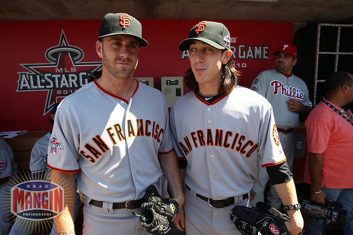 ANAHEIM - JULY 13:  Brian Wilson and Tim Lincecum of the National League pose in the dugout before the All Star Game at Angel Stadium on June 13, 2010 in Anaheim, California. Photo by Brad Mangin