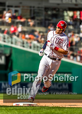 30 April 2017: Washington Nationals catcher Matt Wieters rounds third after hitting a 3-RBI homer in the 7th inning against the New York Mets at Nationals Park in Washington, DC. The Nationals defeated the Mets 23-5, with the Nationals setting several individual and team records, in the third game of their weekend series. Mandatory Credit: Ed Wolfstein Photo *** RAW (NEF) Image File Available ***