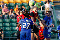 Rochester, NY - Friday June 24, 2016: Boston Breakers forward Eunice Beckmann (27), Western New York Flash defender Alanna Kennedy (8) during a regular season National Women's Soccer League (NWSL) match between the Western New York Flash and the Boston Breakers at Rochester Rhinos Stadium.